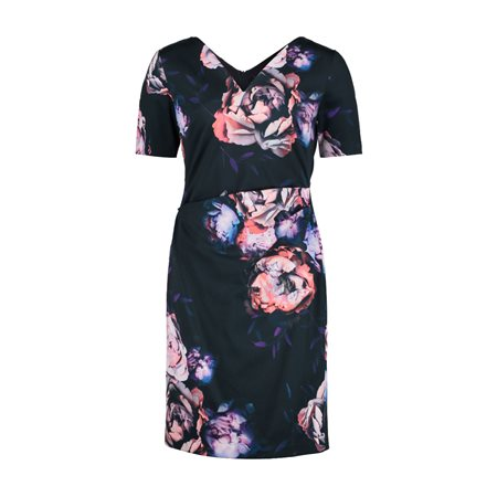 Vera Mont Floral Print Sheath Dress Navy  - Click to view a larger image
