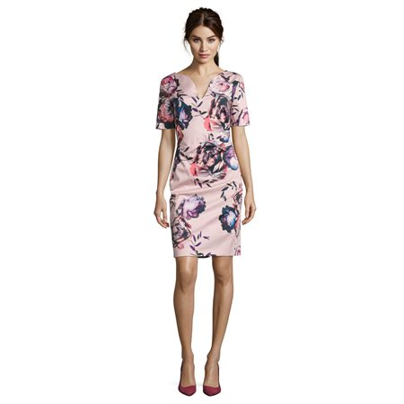 Vera Mont Floral Print Sheath Dress Pink  - Click to view a larger image