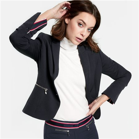 Taifun Stretch Blazer With Zip Pockets Midnight  - Click to view a larger image
