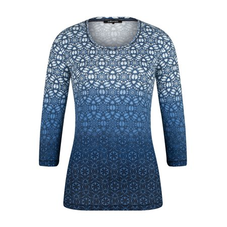 Olsen Ombre Printed Top Blue  - Click to view a larger image