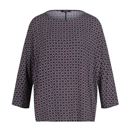 Olsen Printed Batwing Top Blue  - Click to view a larger image