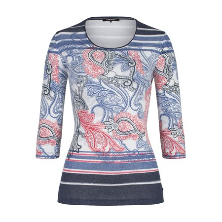 Olsen Paisley Printed Top With 3/4 Length Sleeves Blue  - Click to view a larger image