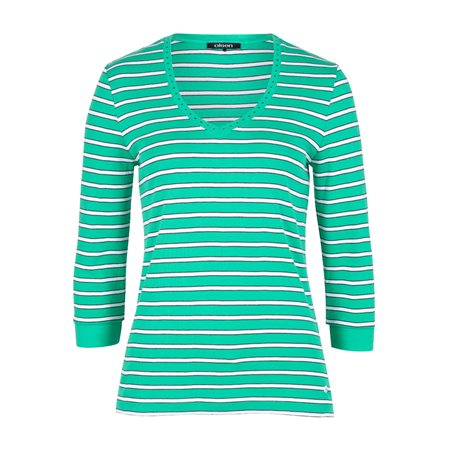 Olsen Striped Cotton Top Green  - Click to view a larger image