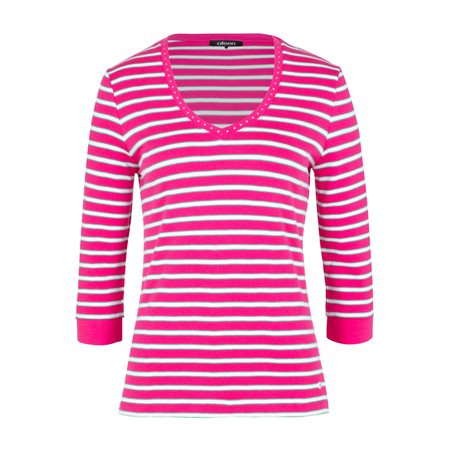 Olsen Striped Cotton Top Pink  - Click to view a larger image