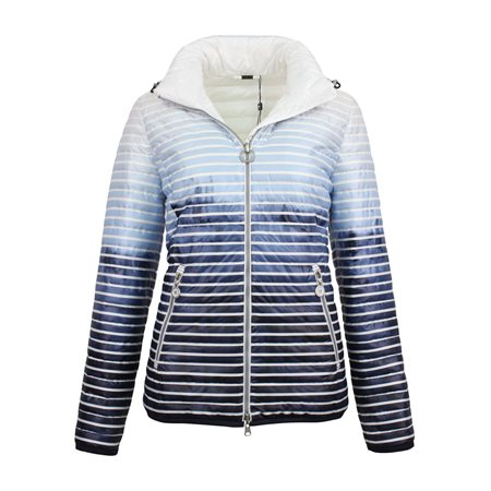 Lebek Striped Reversible Down Coat Blue  - Click to view a larger image