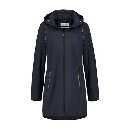 Gerry Weber Long Length Waterproof Coat Navy  - Click to view a larger image