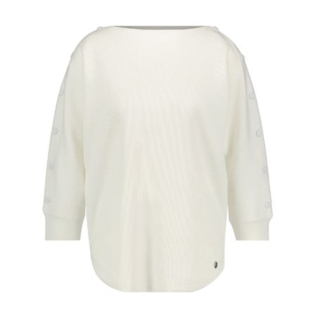 Taifun Jumper With Buttoned Sleeves White  - Click to view a larger image
