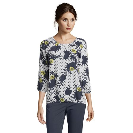 Betty Barclay Spotted Floral Blouse Dark Blue  - Click to view a larger image