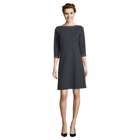 Betty Barclay Spotted Dress With 3/4 Length Sleeves Dark Blue  - Click to view a larger image