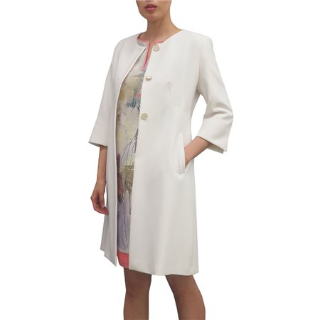 Fee G Long Length Dress Coat Cream  - Click to view a larger image
