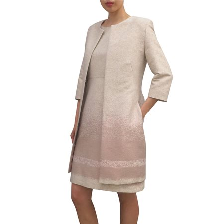 Fee G Collarless Dress Coat Blush  - Click to view a larger image