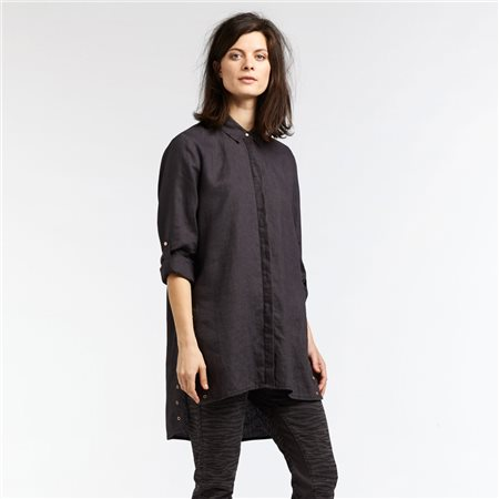 Sandwich Long Linen Blouse With Eyelet Details Black  - Click to view a larger image