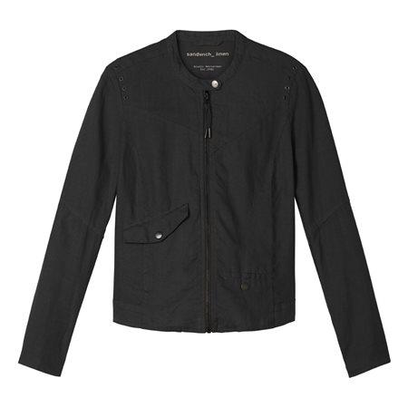 Sandwich Linen Biker Jacket Black  - Click to view a larger image