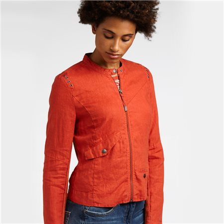 Sandwich Linen Biker Jacket Red  - Click to view a larger image
