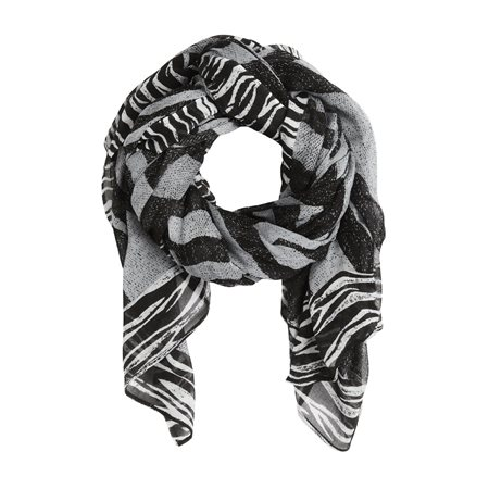 Sandwich Zebra Print Scarf Black  - Click to view a larger image