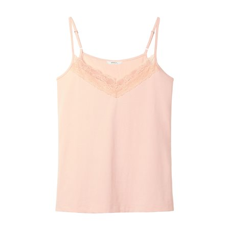 Sandwich Lace Detailed Singlet Blush  - Click to view a larger image