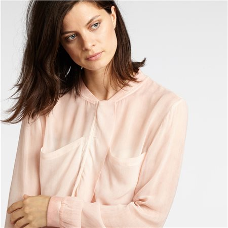 Sandwich Ruffle Detail Sheer Top Blush  - Click to view a larger image