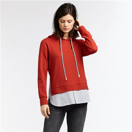 Sandwich Hooded Jumper With Stripe Detailed Hem Red  - Click to view a larger image