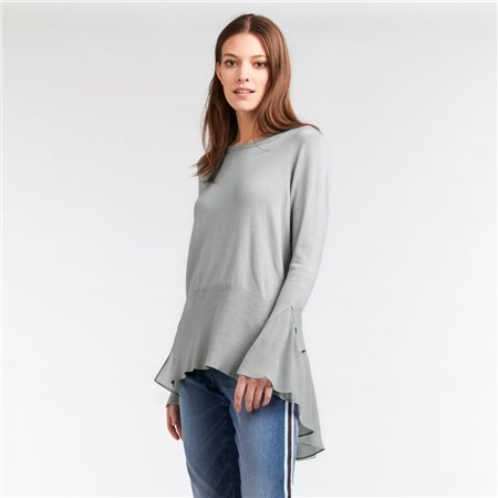 Sandwich Fine Knit Jumper With Frill Detail Blue  - Click to view a larger image
