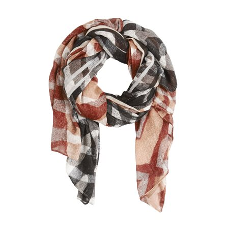 Sandwich Bright Printed Scarf Black  - Click to view a larger image
