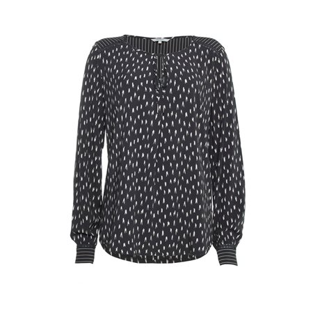 Sandwich Printed Blouse With Tie Neckline Black  - Click to view a larger image