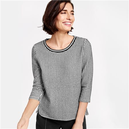 Gerry Weber 3/4 Gingham Check Top Black  - Click to view a larger image