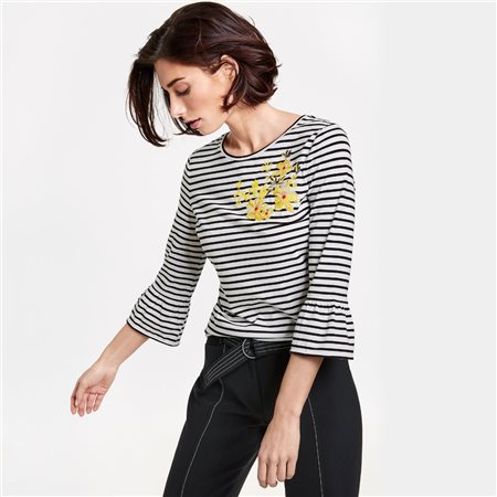 Gerry Weber 3/4 Striped Floral Top Black  - Click to view a larger image