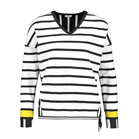Gerry Weber Contrast Striped Jumper Black  - Click to view a larger image