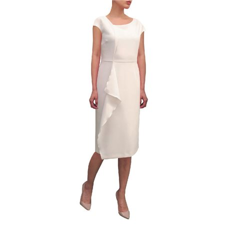 Fee G Fitted Dress With Layered Detail Cream  - Click to view a larger image