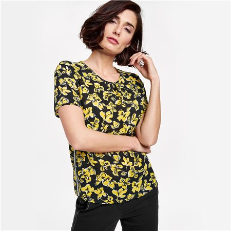Gerry Weber 1/2 Sleeve Floral Blouse Black  - Click to view a larger image