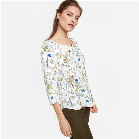 Taifun 3/4 Floral Print Blouse Cream  - Click to view a larger image
