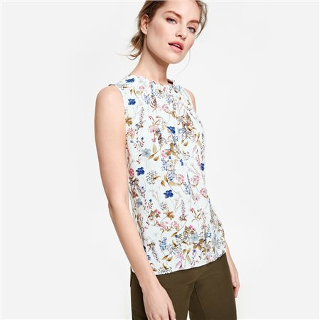Taifun Sleeveless Blouse With Floral Print Cream  - Click to view a larger image