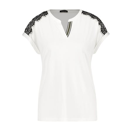 Taifun Contrast Lace Top White  - Click to view a larger image
