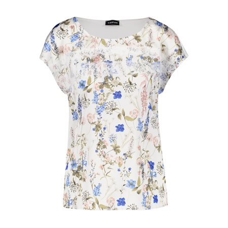 Taifun Satin Front Top With Floral Print Cream  - Click to view a larger image
