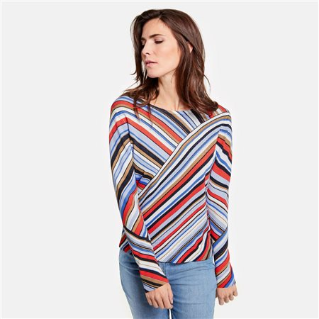 Gerry Weber Colourful Asymmetric Striped Jumper Blue  - Click to view a larger image