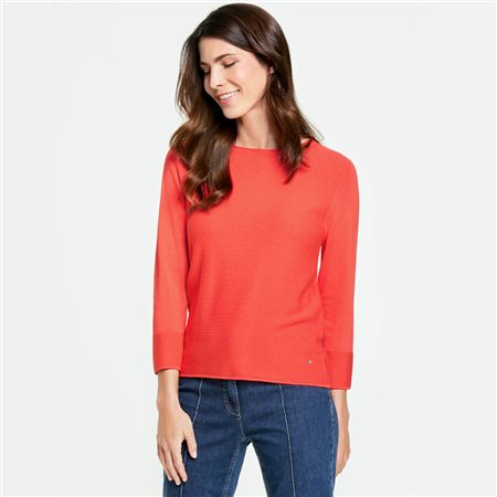 Gerry Weber 3/4 Textured Knit Jumper Red  - Click to view a larger image