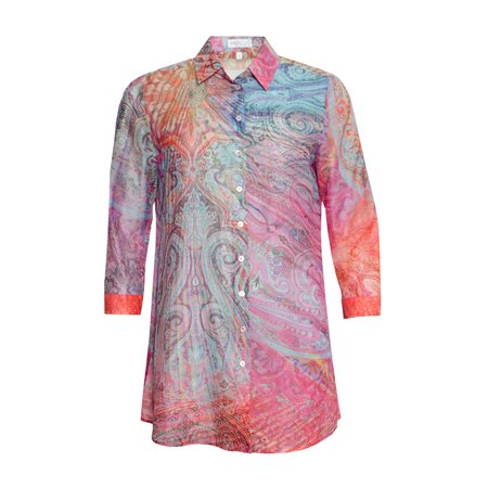 Erfo Multi Coloured Paisley Print Shirt Pink  - Click to view a larger image