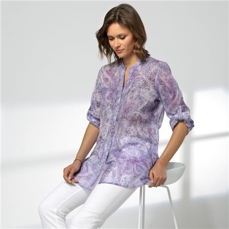 Erfo Collarless Paisley Print Shirt Purple  - Click to view a larger image
