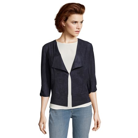 Betty Barclay Faux Suede Jacket Navy  - Click to view a larger image
