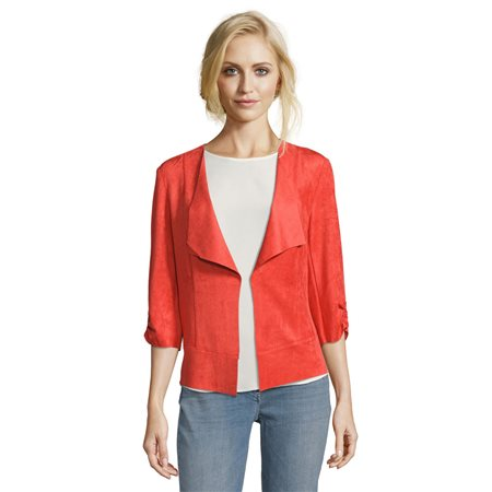 Betty Barclay Faux Suede Jacket Red  - Click to view a larger image