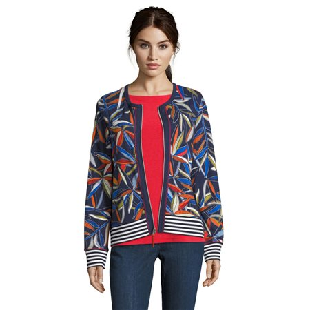 Betty Barclay Fern Print Cardigan Dark Blue  - Click to view a larger image
