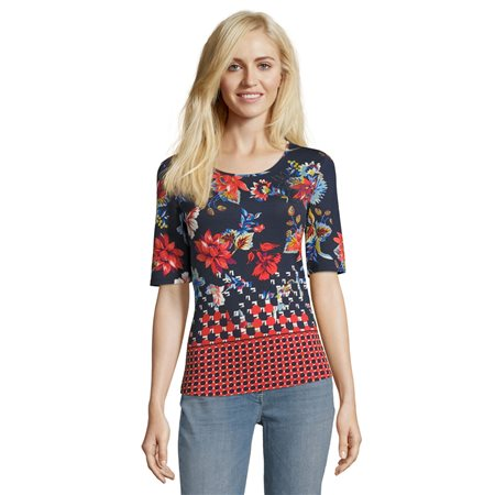 Betty Barclay Floral Print Top Navy  - Click to view a larger image