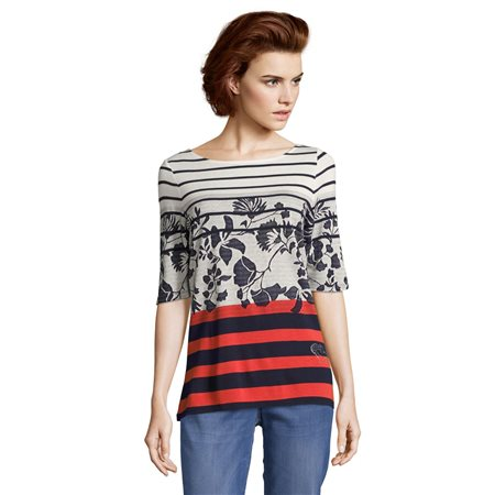 Betty Barclay Striped Top Navy  - Click to view a larger image