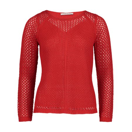 Betty Barclay Crochet Jumper Red  - Click to view a larger image