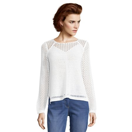 Betty Barclay Crochet Jumper White  - Click to view a larger image