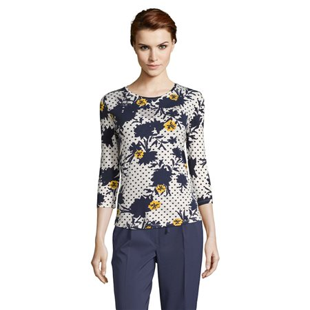 Betty Barclay Embellished Print Top Dark Blue  - Click to view a larger image