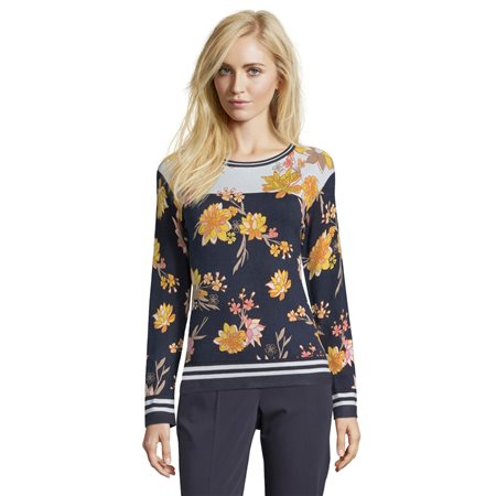 Betty Barclay Floral Print Jumper Navy  - Click to view a larger image