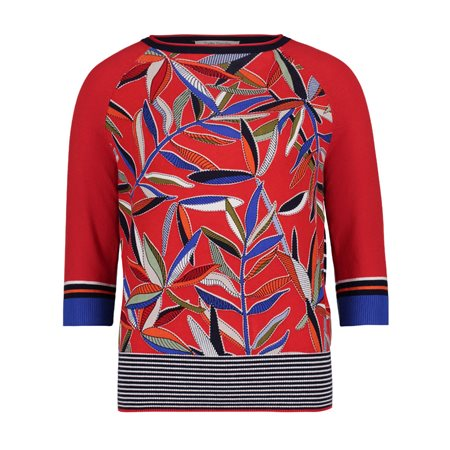 Betty Barclay Fern Print Jumper Red  - Click to view a larger image