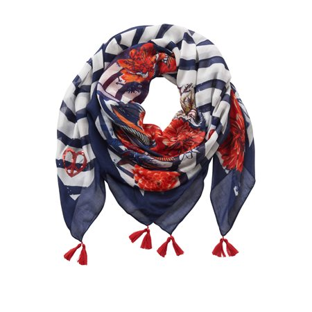 Betty Barclay Floral And Stripe Print Scarf Dark Blue  - Click to view a larger image