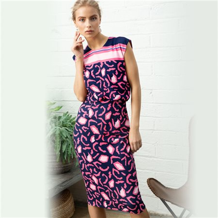 Fee G Abstract Animal Print Dress Pink  - Click to view a larger image